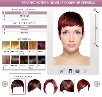 Application de simulation coiffure